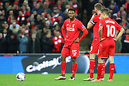 Daniel Sturridge of Liverpool (l) gets ready to take a free kick. Capital One Cup Final, Liverpool v Manchester City at Wembley stadium in London, England on Sunday 28th Feb 2016. pic by Chris Stading, Andrew Orchard sports photography.