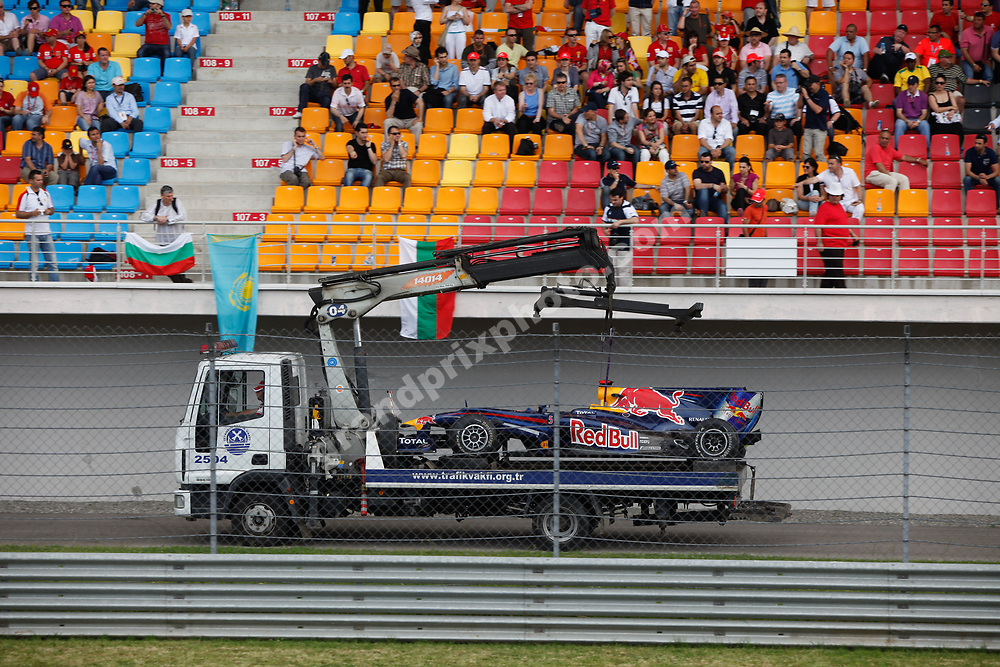 Sebastian Vettel (Red Bull-Renault) car being towed away on truck in the 2010 Turkish Grand Prix in Istanbul Park. Photo: Grand Prix Photo
