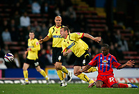Photo: Tom Dulat.<br /> <br /> Crystal Palace v Watford. Coca Cola Championship. 29/10/2007.<br /> <br /> Franck Songo'o of Crystal Palace was pulled down by Jay DeMrit of Watford.