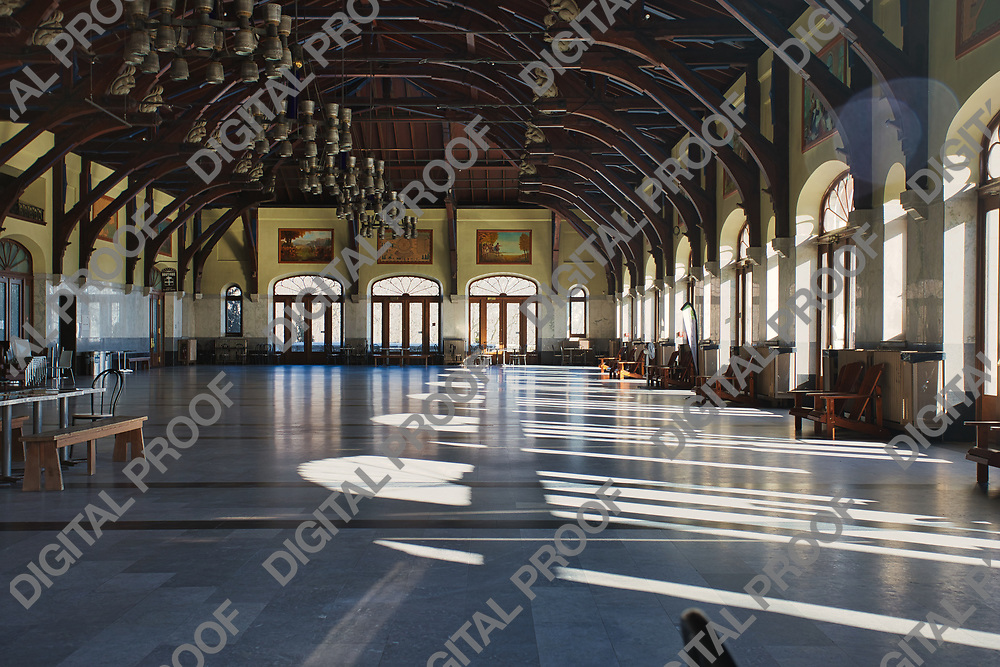 January 09, 2021 - Montreal, Quebec, Canada Empty interior of Kondiaronk Belvedere Chalet Mont Royal