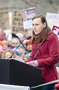 Augusta, Maine, USA. 21st Jan, 2017. Jacie Leopold, a Trans woman and activist for Equal Rights , addresses the Women's March on Maine rally in front of the Maine State Capitol. The March on Maine is a sister rally to the Women's March on Washington.