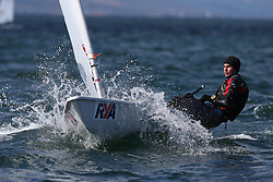Day 1 of the RYA Youth National Championships 2013 held at Largs Sailing Club, Scotland from the 31st March - 5th April. .Laser Standard 204537, Jack PREECE, Cardiff Bay YC..For Further Information Contact..Matt Carter.Racing Communications Officer.Royal Yachting Association.M: 07769 505203.E: matt.carter@rya.org.uk ..Image Credit Marc Turner / RYA..