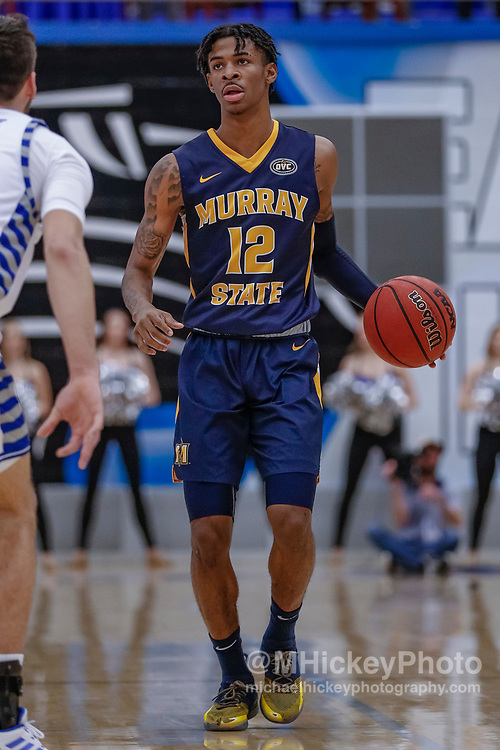 CHARLESTON, IL - JANUARY 17: Ja Morant #12 of the Murray State Racers brings the ball up court during the game against the Eastern Illinois Panthers at Lantz Arena on January 17, 2019 in Charleston, Illinois. (Photo by Michael Hickey/Getty Images) *** Local Caption *** Ja Morant