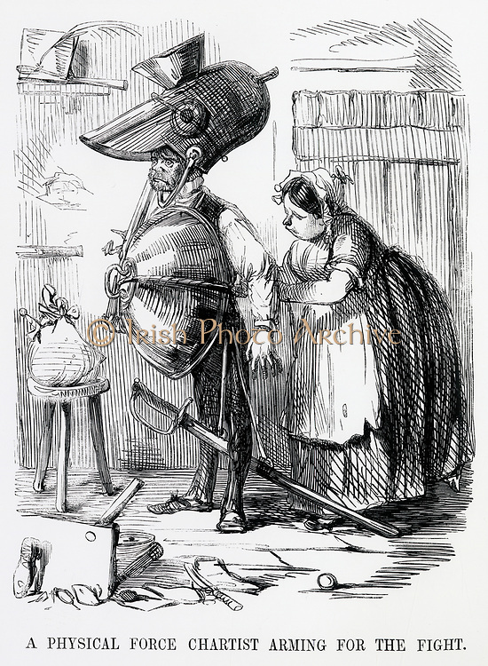 A  Chartist activist armed for conflict.  Cartoon from 'Punch', London, 1848.