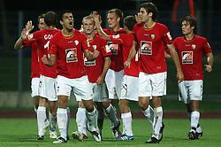 Players of Rudar (Left Edin Junuzovic (7) of Rudar) celebrate first goal  at 3rd Round of PrvaLiga Telekom Slovenije between NK HIT Gorica vs NK Rudar Velenje, on August 1, 2008, in Nova Gorica, Slovenija. Rudar won the match 2:0. (Photo by Vid Ponikvar / Sportal Images)
