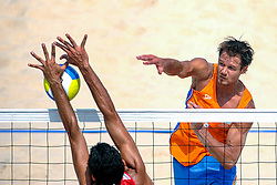 Reinder Nummerdor of Netherlands, in action on the center court of the Chaoyang Park Beach Stadium on August 18, 2008 in Beijing