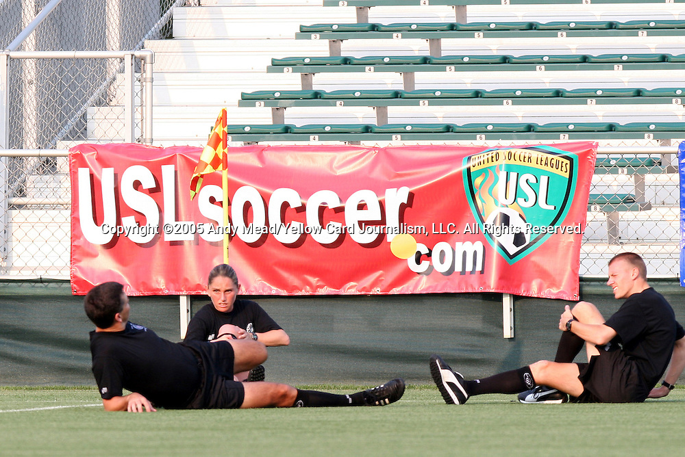 18 May 2005: Referee Charles Mitchell (left) stretches before the game with Assistant Referees Sandra Serafini (center) and Matheu Dusty Becker (right) before the game. The Raleigh CASL Elite and the Williamsburg Legacy tied 1-1 after overtime at SAS Stadium in Cary, North Carolina in a regular season Premier Development League game that was also part of qualifying for the US Open Cup. .