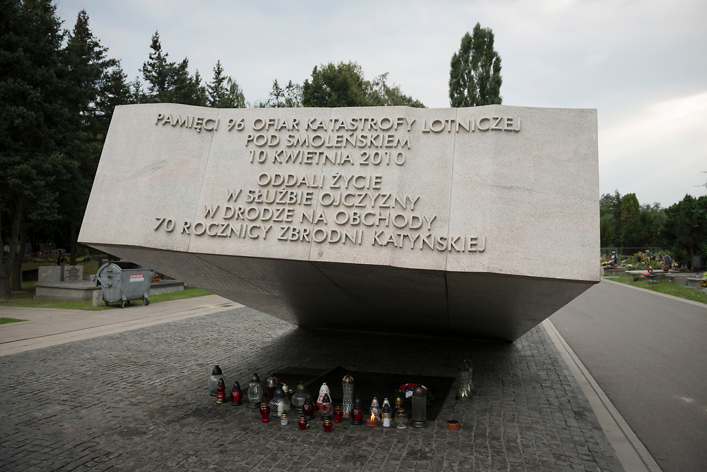 In Warsaw's Powązki Military Cemetery, a memorial is dedicated to the 96 people who died in a plane crash near Smolensk, Russia, on April 10, 2010. The vicitims included Poland's President Lech Kaczyński and his wife Maria, the former President of Poland in exile Ryszard Kaczorowski, the chief of the Polish General Staff and other senior Polish military officers, the president of the National Bank of Poland, Polish Government officials, 18 members of the Polish Parliament, senior members of the Polish clergy and relatives of victims of the Katyn massacre. The passengers were traveling to Smolensk to mark the 70th anniversary of the Katyn massacre.