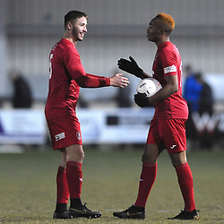 TELFORD COPYRIGHT MIKE SHERIDAN Zak Lill and Marcus Dinanga celebrate at full time during the Vanarama Conference North fixture between Darlington and AFC Telford United at Blackwell Meadows on Saturday, November 30, 2019.<br /> <br /> Picture credit: Mike Sheridan/Ultrapress<br /> <br /> MS201920-032