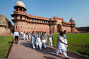 Tourists at Agra Fort the Jahangir Mahal, zenana palace residence of Rajput wives of Mughal Emperor Akbar