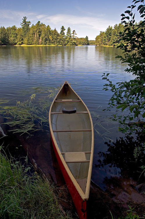A canoe at a portage on Big Bateau Lake at Sylvania Wilderness Area of Ottawa National Forest near Watersmeet Michigan.