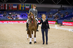 Van Liere Dinja, NED, Total U.S.<br /> Final Subli Young Dressage horses 4 years of age<br /> Jumping Amsterdam 2017<br /> © Hippo Foto - Leanjo de Koster<br /> 26/01/17