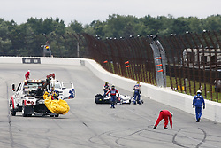 August 19, 2018 - Long Pond, Pennsylvania, United Stated - ROBERT WICKENS (6) of Canada is airlifted to the hospital following a wreck during the opening stages of the ABC Supply 500 at Pocono Raceway in Long Pond, Pennsylvania. (Credit Image: © Chris Owens Asp Inc/ASP via ZUMA Wire)