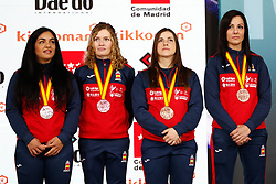 November 10, 2018 - Madrid, Madrid, Spain - Laura Palacio, Maria Torres,  Cristina Vizcaino and Cristina Ferrer of Spain win the bronce medal and the third place of Female Kumite for Team tournament during the Finals of Karate World Championship celebrates in Wizink Center, Madrid, Spain, on November 10th, 2018. (Credit Image: © AFP7 via ZUMA Wire)