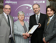 Derek Teeling and Helen McKenna of Finglas / Cabra Citizen Information Centre receive their award from Tony McQuinn chief executive CIB and Matt Fisher COO, EFQM at the EFQM Ireland Excellence Awards ceremony in association with Fáilte Ireland and the Centre for Competitiveness at the Galway Bay Hotel on Friday night. Photo:- Andrew Downes Photography / No Fee
