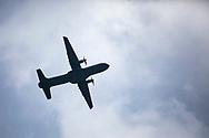 Tultepec, Estado de México. 16 septiembre 2021. Mexican Air Force plane flying over Tultepec. / Avión de la Fuerza Aérea Mexicana volano sobre Tultepec.