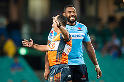 March 23, 2019 - Sydney, NSW, U.S. - SYDNEY, NSW - MARCH 23: Waratahs player Sekope Kepu (3) has a laugh with the referee at round 6 of Super Rugby between NSW Waratahs and Crusaders on March 23, 2019 at The Sydney Cricket Ground, NSW. (Photo by Speed Media/Icon Sportswire) (Credit Image: © Speed Media/Icon SMI via ZUMA Press)