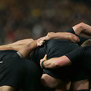 The New Zealand scrum packs down during the New Zealand V Australia Semi Final match at the IRB Rugby World Cup tournament, Eden Park, Auckland, New Zealand, 16th October 2011. Photo Tim Clayton...