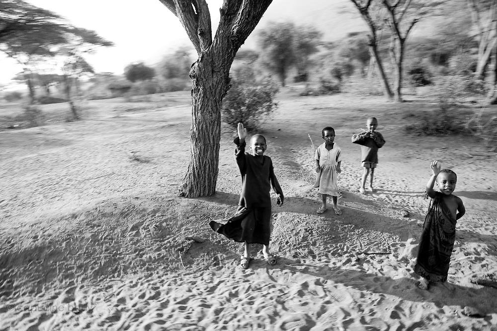 TANZANIA. Longido Mountain Area..August 2nd 2009..Maasai kids.