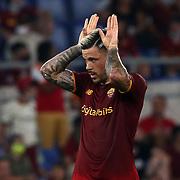 Roma 14/08/2021 Stadio Olimpico<br /> Amichevole <br /> AS Roma vs Raja Club Athletic<br /> Carles Perez (Roma) esulta dopo il goal