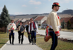 CZECH REPUBLIC MORAVIA BANOV 2APR18 - Easter celebrations with folklore musicians Jiri and Jan Chovanec as  they wander on their round through the village of Banov, Moravia. <br /> <br /> jre/Photo by Jiri Rezac<br /> <br /> © Jiri Rezac 2018