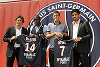 FOOTBALL - MISCS - FRENCH CHAMPIONSHIP 2011/2012 - LIGUE 1 - PARIS SAINT GERMAIN - 25/07/2011 - PHOTO JEAN MARIE HERVIO / DPPI - NASSER AL KHELAIFI (PDT PSG) AND LEONARDO (SPORT DIRECTOR) INTRODUCE PSG'S NEW PLAYERS JEREMY MENEZ AND BLAISE MATUIDI