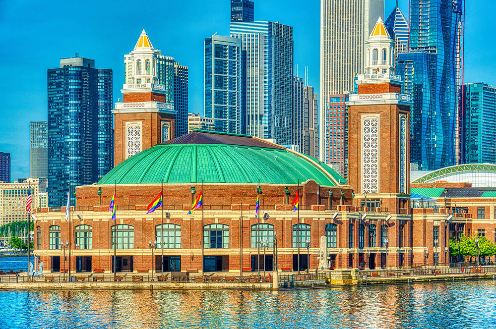 Chicago's beautiful summer skyline taken on a early  morning, June 26th, 2019.  Showning the magnificent architecture it is well known and visited for. Digital photography. Exterior Architectural Photography. Buildings, locations, architecture. Chicago, Illinois, built landscape,