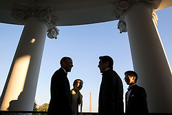 President Barack Obama talks with Prime Minister Shinzo Abe of Japan on the Truman Balcony of the White House prior to the State Dinner, April 28, 2015. (Official White House Photo by Pete Souza)<br /> <br /> This official White House photograph is being made available only for publication by news organizations and/or for personal use printing by the subject(s) of the photograph. The photograph may not be manipulated in any way and may not be used in commercial or political materials, advertisements, emails, products, promotions that in any way suggests approval or endorsement of the President, the First Family, or the White House.