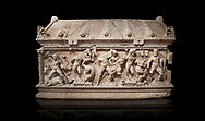 Roman relief sculpted Herakles (Hercules)  sarcophagus, 2nd century AD, Perge, inv 1,11,81-1.3.99-2.3.99.. Antalya Archaeology Museum, Turkey. Against a black background..<br /> <br /> If you prefer to buy from our ALAMY STOCK LIBRARY page at https://www.alamy.com/portfolio/paul-williams-funkystock/greco-roman-sculptures.html . Type -    Antalya    - into LOWER SEARCH WITHIN GALLERY box - Refine search by adding a subject, place, background colour, etc.<br /> <br /> Visit our ROMAN WORLD PHOTO COLLECTIONS for more photos to download or buy as wall art prints https://funkystock.photoshelter.com/gallery-collection/The-Romans-Art-Artefacts-Antiquities-Historic-Sites-Pictures-Images/C0000r2uLJJo9_s0