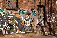 Europa, Deutschland, Nordrhein-Westfalen, Koeln, Mauer mit Graffitis am Deutzer Hafen.<br /><br />Europe, Germany, North Rhine-Westphalia, Cologne, wall with graffiti at the harbor Deutz.