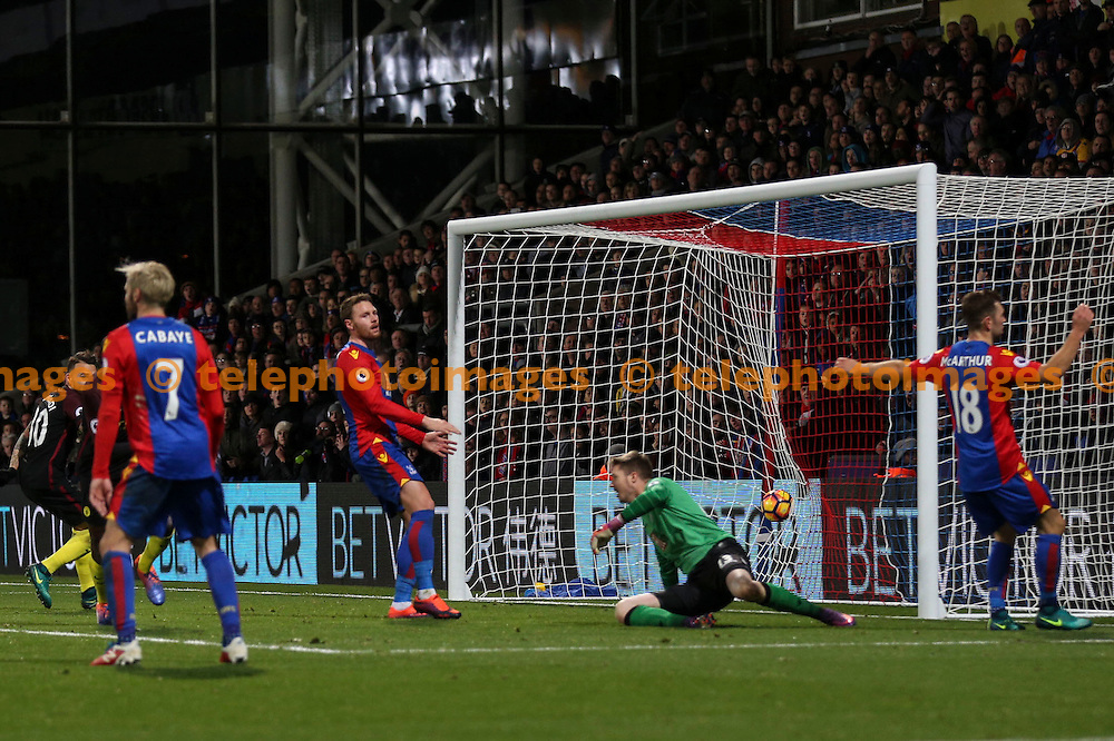 Yaya Toure scores the winning goal during the Premier League match between Crystal Palace and Manchester City at Selhurst Park in London. Novemeber 19, 2016.<br /> Jack Beard / Telephoto Images<br /> +44 7967 642437