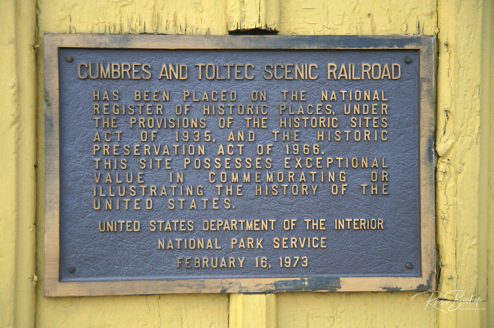 The National Historic Site plaque at the Cumbres & Toltec Scenic Railroad train depot, Chama, New Mexico