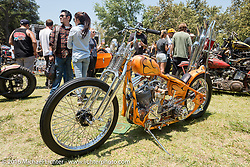 BF8 Invited builder Matt Jackson's Jackson Choppers Harley-Davidson Panhead chopper at the Born Free Motorcycle Show-8 at the Oak Canyon Ranch. Silverado, CA, USA. Saturday June 25, 2016.  Photography ©2016 Michael Lichter.