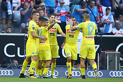 August 1, 2017 - Munich, Germany - Napoli celebrating the goal scored by Jose Maria Callejon  durign the first Audi Cup football match between Atletico Madrid and SSC Napoli in the stadium in Munich, southern Germany, on August 1, 2017. (Credit Image: © Matteo Ciambelli/NurPhoto via ZUMA Press)