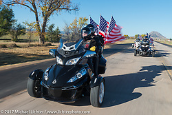 Duane and Helen Riedlinger from Summerset, SD on their 2015 Can-Am Spyder RT Limited. Duane is a USN Vet and a retired Army vet and Helen is a retired Army veteran and both are members of the American Legion Riders Black Hills Chapter 164 in Spearfish, SD. USS South Dakota submarine flag relay across South Dakota on the first day from Sturgis to Aberdeen. SD. USA. Saturday October 7, 2017. Photography ©2017 Michael Lichter.