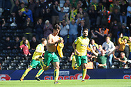 Norwich City Forward Nelson Oliveira (L) celebrates after scoring his teams first goal. EFL Skybet football league championship match, Fulham  v Norwich city at Craven Cottage in London on Saturday 5th August 2017.<br /> pic by Steffan Bowen, Andrew Orchard sports photography.