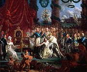 Allégorie on the return of the Bourbons 1814 : Louis XVIII saves France from ruin. By Louis-Philippe Crépin. Louis XVIII was King of France and of Navarre from 1814 to 1824,
