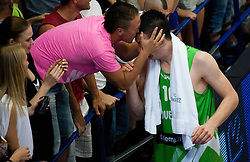 Alen Omic of Slovenia with his fans celebrate after winning the basketball match between National teams of Turkey and Slovenia in Qualifying Round of U20 Men European Championship Slovenia 2012, on July 17, 2012 in Domzale, Slovenia. Slovenia defeated Turkey 72-71 in last second of the game. (Photo by Vid Ponikvar / Sportida.com)