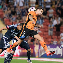 BRISBANE, AUSTRALIA - OCTOBER 7: Jamie MacLaren of the Roar heads the ball during the round 1 Hyundai A-League match between the Brisbane Roar and Melbourne Victory at Suncorp Stadium on October 7, 2016 in Brisbane, Australia. (Photo by Patrick Kearney/Brisbane Roar)