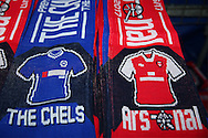 Chelsea vs Arsenal half and half scarfs. Premier league match, Chelsea v Arsenal at Stamford Bridge in London on Saturday 4th February 2017.<br /> pic by John Patrick Fletcher, Andrew Orchard sports photography.