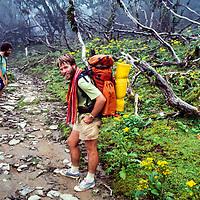 Trekkers rest near Lamjura Pass, during a monsoon trek to in the Khumbu of Nepal. 1980