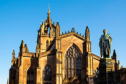View of St Giles Cathedral on the Royal Mile in Edinburgh Old Town in, Scotland, United Kingdom.