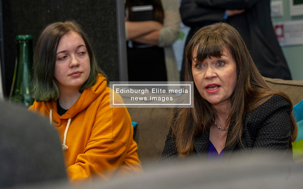 Pictured: Youth advisor Neva Brown and Clare Haughey<br />Mental Health Minister Clare Haughey visisted the Junction in Edinburgh today to announce extra funding for young people mental health staff.  The Junction centre provides care and support to young people from north Edinburgh. Ms Haughey announced funding for Child and Adolescent Mental Health Services (CAMHS) <br /><br />Ger Harley| EEm 19 December 2018