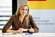 ROTTERDAM, 25-5-2021, Hogeschool Rotterdam<br /> <br /> Koningin Maxima tijdens een werkbezoek gebracht aan de Hogeschool Rotterdam Business School. Het bezoek stond in het teken van de impact van de coronapandemie op het hoger onderwijs, de ontwikkeling van ondernemerschapsonderwijs en de aansluiting van studenten op de arbeidsmarkt. Koningin Maxima is lid van het Nederlands Comite voor Ondernemerschap (Comite). <br /> FOTO: Brunopress/POOL/Patrick van Katwijk<br /> <br /> Queen Maxima paid a working visit to the Hogeschool Rotterdam Business School. The visit focused on the impact of the corona pandemic on higher education, the development of entrepreneurship education and the connection of students to the labor market. Queen Maxima is a member of the Netherlands Entrepreneurship Committee (Committee).