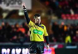Referee Nigel Owens in action <br /> <br /> Photographer Craig Thomas/Replay Images<br /> <br /> Guinness PRO14 Round 17 - Scarlets v Leinster - Friday 9th March 2018 - Parc Y Scarlets - Llanelli<br /> <br /> World Copyright © Replay Images . All rights reserved. info@replayimages.co.uk - http://replayimages.co.uk
