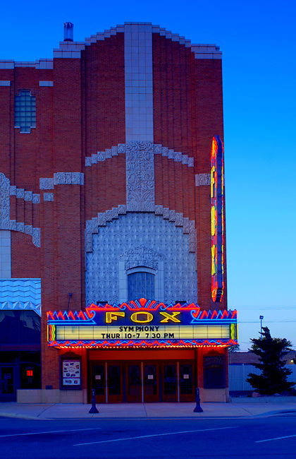Kansas / Hutchinson / Fox Theatre / Art Deco Architecture / State Movie Palace Of Kansas / Marquee Was.The First Flashing Display Of Neon In Kansas / Built In 1931 / National Register Of Historic Places, Property Released