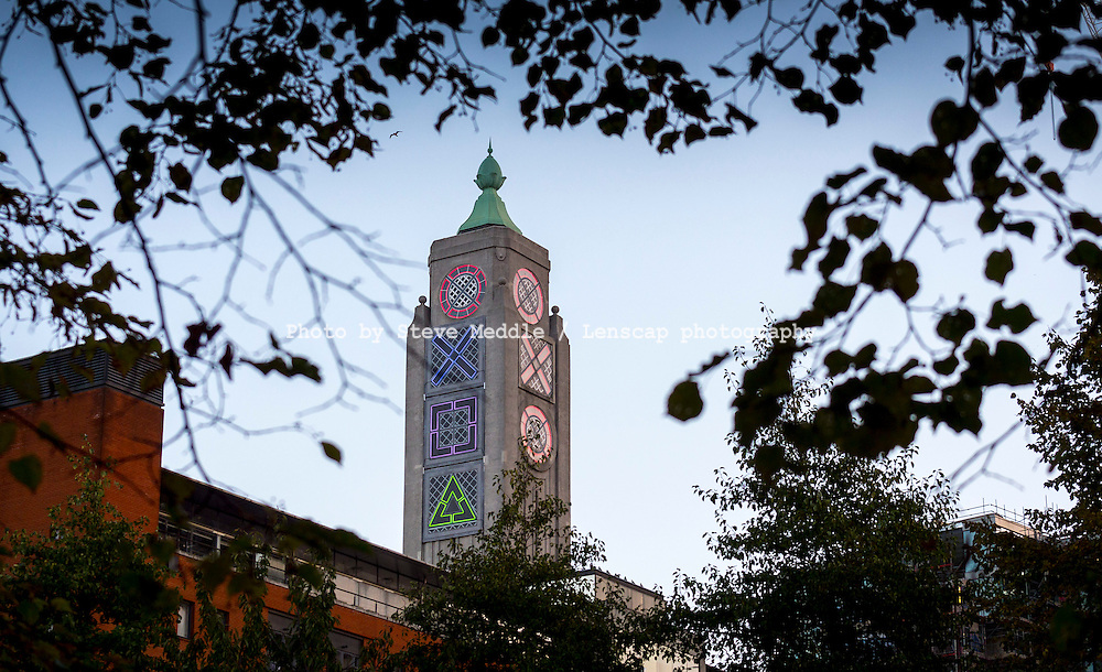 The OXO Tower, London, Britain - 15 Nov 2013.<br /> <br /> The famous OXO Tower logo was replaced with PlayStation Icons to celebrate the launch of the PlayStation 4 Console.