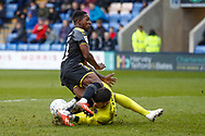 Shrewsbury Town goalkeeper Steve Arnold (15) saves at the feet of Wimbledon forward Michael Folivi (41), on loan from Watford, leading to his injury that makes him have to be substituted during the EFL Sky Bet League 1 match between Shrewsbury Town and AFC Wimbledon at Greenhous Meadow, Shrewsbury, England on 2 March 2019.