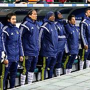 Fenerbahce's players during the Turkish soccer super league match Bursaspor between Fenerbahce at the Ataturk Stadium in Bursa Turkey on Monday, 24 November 2014. Photo by Aykut AKICI/TURKPIX