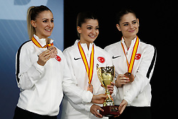 November 11, 2018 - Madrid, Madrid, Spain - Turkey Team with bronce medal of female Kata Team during the Finals of Karate World Championship celebrates in Wizink Center, Madrid, Spain, on November 11th, 2018. (Credit Image: © AFP7 via ZUMA Wire)